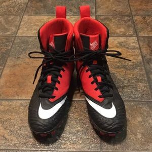 Nike Mens Force Savage Football Cleats Black Red 8